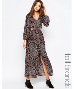 Influence Tall | Платье Макси С Длинными Рукавами Мульти