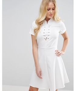 Closet London | Платье С Короткими Рукавами И Шнуровкой Closet Кремовый