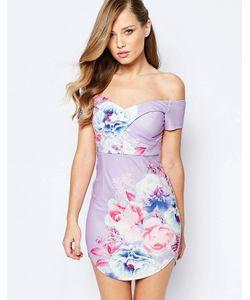 Ginger Fizz | Облегающее Платье С Цветочным Принтом И Закругленной Кромкой
