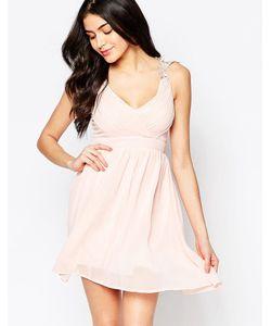 Club L | Платье С Запахом И Ажурными Бретельками Nude Pink