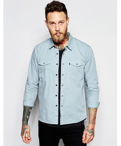 Levis Line 8   Голубая Джинсовая Рубашка Классического Кроя Levis Line 8 Светлый Ярко-Синий