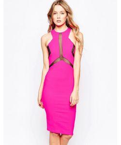 Lashes of London | Платье Миди С Сетчатыми Вставками Electra Розовый