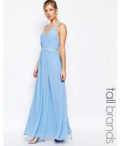 Jarlo Tall | Шифоновое Платье Макси С V-Образным Вырезом Синий