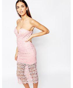 Rare Opulence | Кружевное Платье Миди В Стиле Кроше Blush