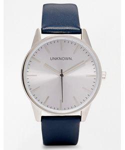 UNKNOWN | Часы С Серебристым Циферблатом И Темно-Синим Кожаным Ремешком Темно-Синий
