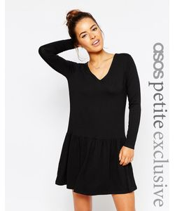 ASOS PETITE | Простое Платье С V-Образным Вырезом Черный