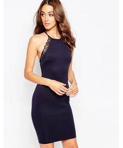 Sistaglam | Платье Миди С Кружевной Отделкой Arelie Темно-Синий