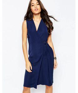 Asos | Платье-Футляр С Запахом И Dобразным Кольцом Темно-Синий