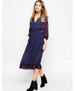 Asos | Платье С Вышивкой На Рукавах И Кисточками На Завязке Premium