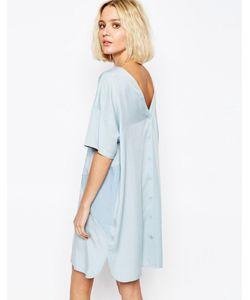 Paisie | Двухцветное Панельное Платье С Пуговицами Сзади Бледно-Синий