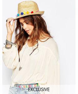 Catarzi | Соломенная Шляпа С Помпонами Естественный