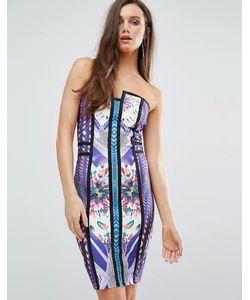 WOW Couture | Бандажное Платье-Бандо Фиолетовый С Разноцветным Принтом