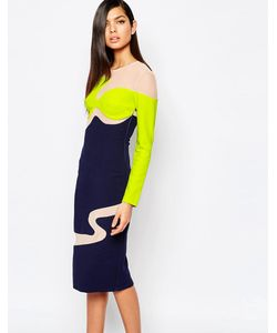 8th Sign | Платье-Футляр В Стиле Колор Блок С Сетчатыми Вставками The