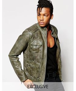 Black Dust | Кожаная Байкерская Куртка С Карманами Зеленый