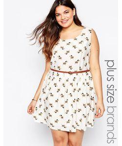 Yumi Plus | Короткое Приталенное Платье С Таксами И Ремнем Кремовый