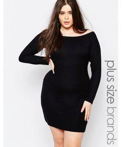 Missguided Plus | Облегающее Платье Размера Плюс В Рубчик Missguided Черный