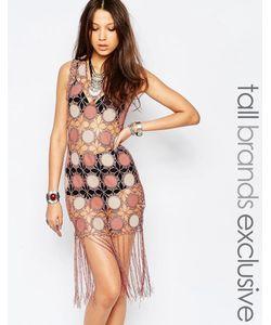 True Decadence Tall | Цельнокройное Платье Из Искусственной Замши С Бахромой