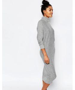 Stitch & Pieces   Платье-Джемпер С Отворачивающимся Воротником Светло-Серый