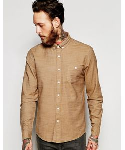 Asos | Верблюжья Меланжевая Саржевая Рубашка Классического Кроя Кэмел