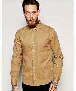 Asos | Песочная Льняная Рубашка Классического Кроя С Длинными Рукавами Laundered