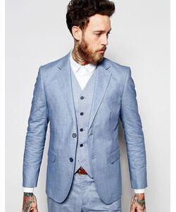 Feraud   Бледно-Голубой Пиджак Из 55 Льна Premium Синий