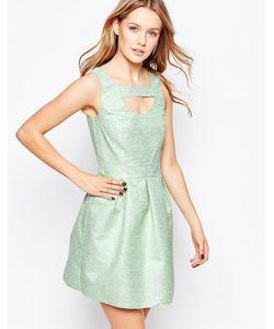 Lashes of London | Короткое Приталенное Платье Из Жаккарда Зеленый