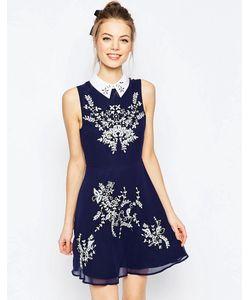 Asos | Короткое Приталенное Платье С Цветочной Вышивкой И Воротником Темно-Синий