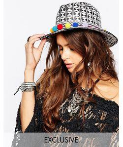 Catarzi | Черно-Белая Соломенная Шляпа С Помпонами Мульти