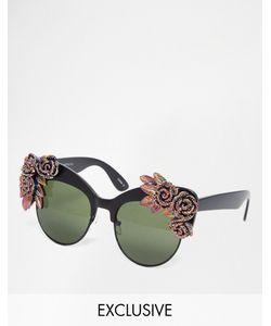 RAD + REFINED | Солнцезащитные Очки Кошачий Глаз C Разноцветными Розами И Блестками Rad