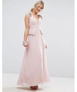 Little Mistress | Шифоновое Платье Макси Со Складками И Отделкой Розовый