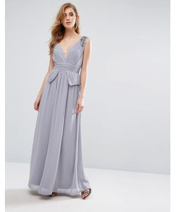 Little Mistress | Шифоновое Платье Макси Со Складками И Отделкой Серый