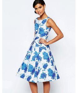 Asos | Платье Миди Для Выпускного С Синим Цветочным Принтом Синий
