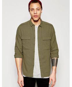 Asos | Рубашка В Стиле Милитари Из Смешанного Льна Цвета Хаки С Длинными