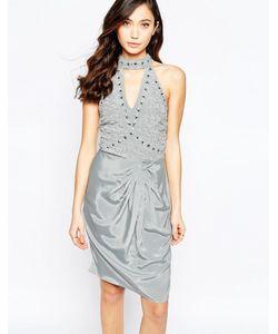 Virgos Lounge | Платье-Халтер С Вырезом Капелькой И Сборками Virgos Lounge Neva Серый