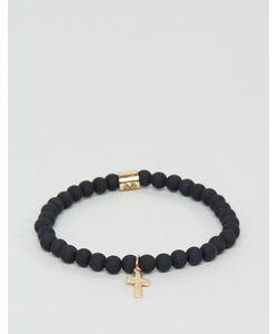 Chained & Able   Золотистый Узкий Браслет С Крестом