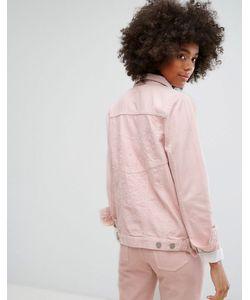 Waven | Классическая Джинсовая Куртка Пастельного Цвета С Вышивкой В Тон