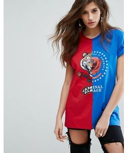 Criminal Damage | Deconstructed T-Shirt With Rose Print