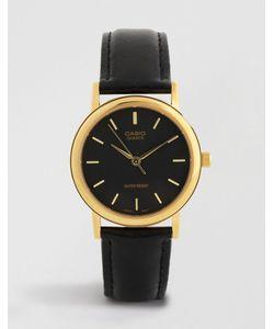 Casio   Часы С Золотистой Отделкой И Черным Кожаным Ремешком Mtp1095q-1a