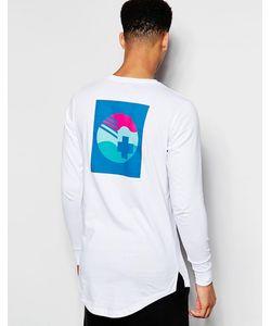 Pink Dolphin | Лонгслив С Принтом На Спине Белый
