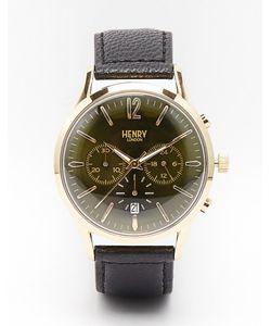 Henry London   Часы С Хронографом И Кожаным Ремешком Chiswick Черный