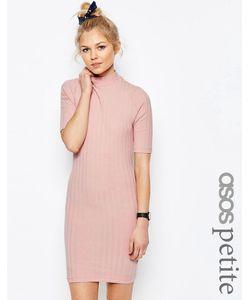 ASOS PETITE | Облегающее Платье В Рубчик С Высокой Горловиной Asos Черный