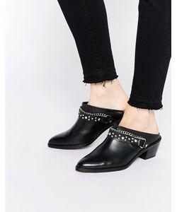 Hudson London   Черные Кожаные Сабо-Ботинки С Заклепками Malen Черный