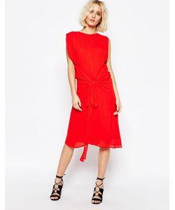 Paisie | Платье С Завязкой На Талии Красный