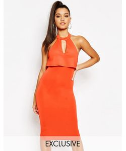 NaaNaa | Платье-Футляр Миди 2-В-1 Оранжевый