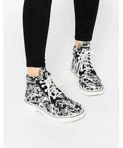 Cat Footwear | Черные Ботинки На Рифленой Подошве Со Шнуровкой Walala
