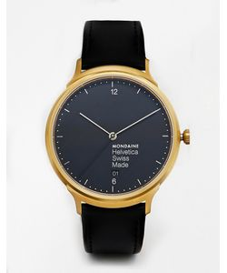 Mondaine | Часы С Кожаным Ремешком Helvetica Черный