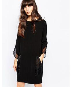Paisie | Цельнокройное Платье С Манжетами Из Органзы Черный
