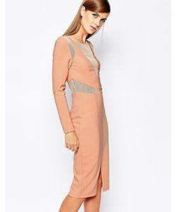 8th Sign | Облегающее Платье С Сетчатой Вставкой The Телесный