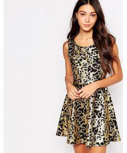 Jasmine | Короткое Приталенное Платье С Металлическим Принтом Золотой