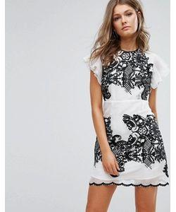 Foxiedox   Платье Мини С Вышивкой И Оборками На Рукавах